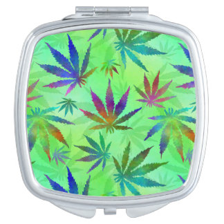 Marijuana Cannabis Leaves Pattern Travel Mirror