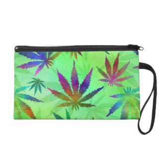 Marijuana Cannabis Leaves Pattern Wristlet