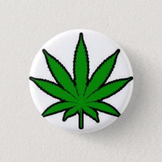 marijuana leaf 1 inch round button