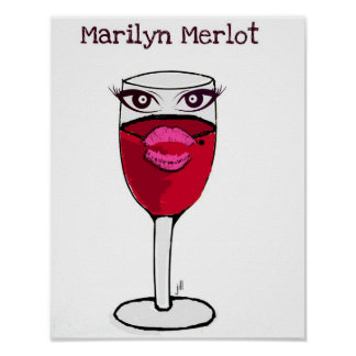 Marilyn Merlot Red Wine Glass Print