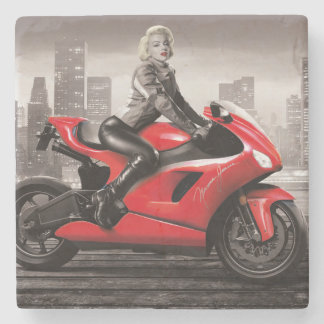 Marilyn's Motorcycle Stone Coaster