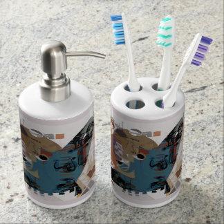 Marina allegory soap dispenser and toothbrush holder