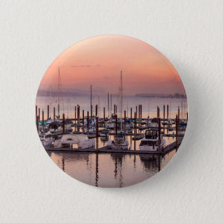 Marina along Columbia River at Sunset in Oregon 2 Inch Round Button