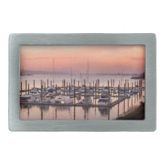 Marina along Columbia River at Sunset in Oregon Belt Buckle