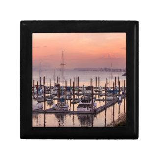 Marina along Columbia River at Sunset in Oregon Gift Box