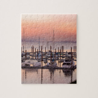 Marina along Columbia River at Sunset in Oregon Jigsaw Puzzle