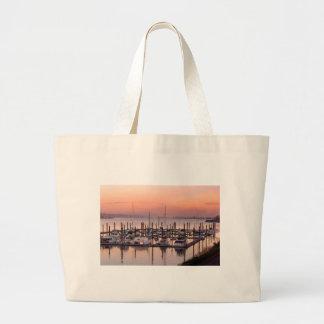 Marina along Columbia River at Sunset in Oregon Large Tote Bag