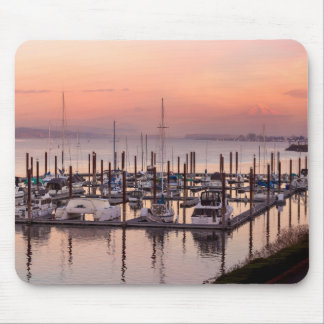 Marina along Columbia River at Sunset in Oregon Mouse Pad