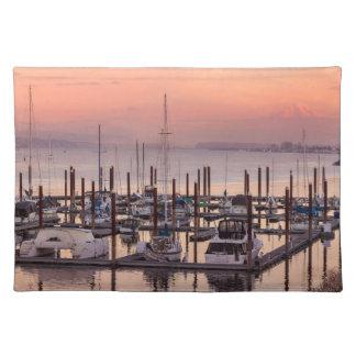 Marina along Columbia River at Sunset in Oregon Placemat