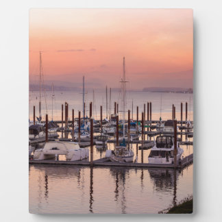 Marina along Columbia River at Sunset in Oregon Plaque