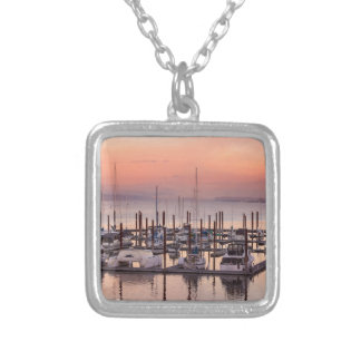 Marina along Columbia River at Sunset in Oregon Silver Plated Necklace