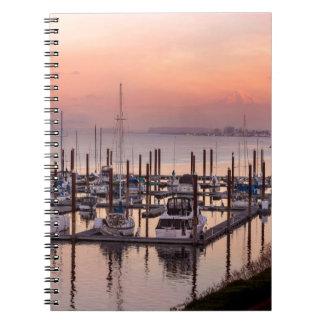 Marina along Columbia River at Sunset in Oregon Spiral Notebook