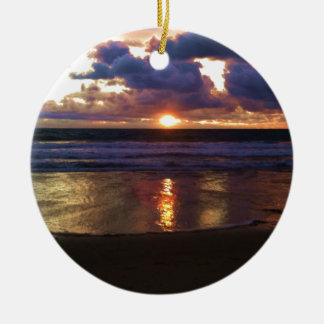 Marina del Rey Sunset Round Ceramic Ornament