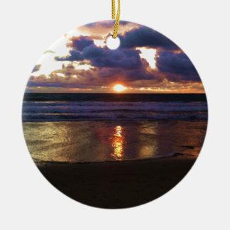 Marina del Rey Sunset Round Ceramic Ornament
