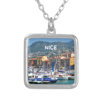 Marina in Nice, France Silver Plated Necklace