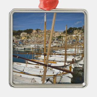 Marina, Port de Soller, West coast, Mallorca, Silver-Colored Square Ornament