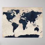 Marine affligée de carte du monde posters