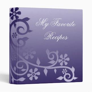 Marine and Sapphire Daisy Vine Recipe Book 3 Ring Binder