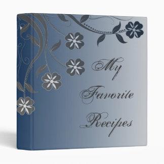 Marine and Silver Swirl Recipe Book 3 Ring Binder