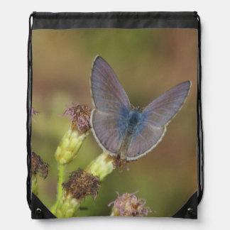 Marine Blue Butterfly Drawstring Bag