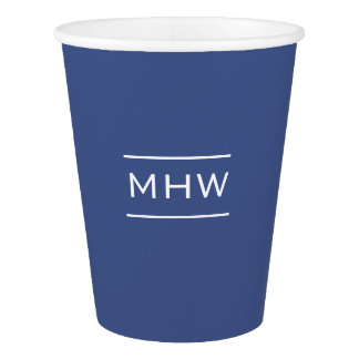Marine Blue custom monogram paper cups Paper Cup