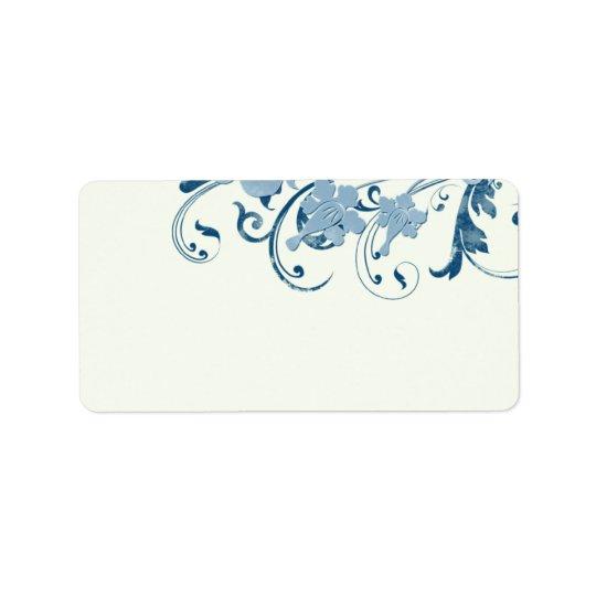 Marine Blue Floral Wedding Blank Address Labels