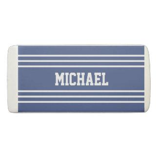 Marine Blue Stripes custom monogram eraser