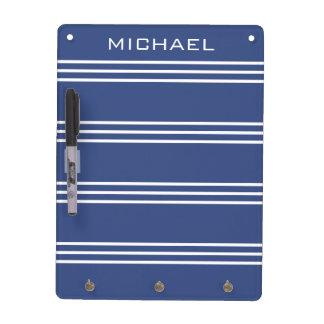 Marine Blue Stripes custom monogram message board Dry Erase Board