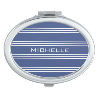 Marine Blue Stripes custom monogram pocket mirrors Vanity Mirror