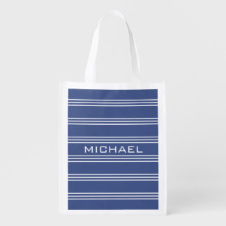 Marine Blue Stripes custom monogram reusable bag Reusable Grocery Bags
