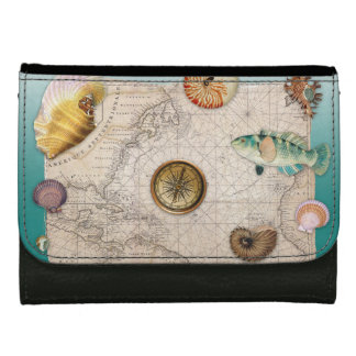 Marine collage aquamarine women's wallets