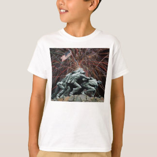 Marine Corp War Memorial with Fireworks Kids Shirt