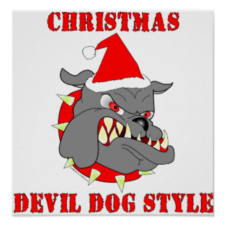 Marine Corps Christmas Devil Dog Style Poster