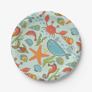 Marine Creature Pattern 7 Inch Paper Plate