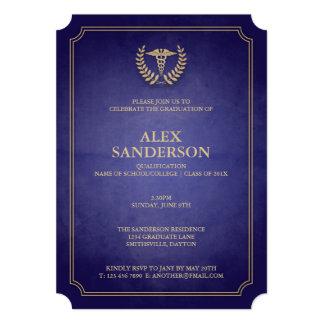 Marine et guirlande médicale de caducée et de carton d'invitation  12,7 cm x 17,78 cm