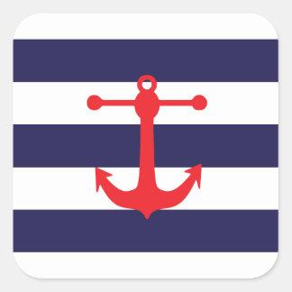 Marine et motif nautique rouge autocollant carré