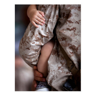 Marine Holding His Son in His Arms Postcard