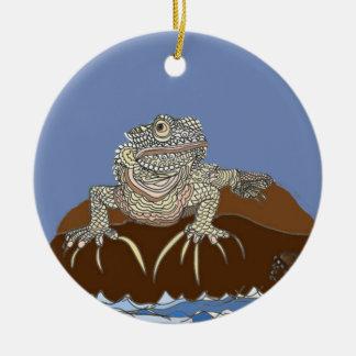 Marine Iguana on Rock with Hermit Crab Ceramic Ornament