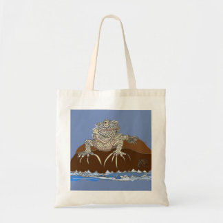 Marine Iguana on Rock with Hermit Crab Tote Bag
