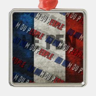Marine Le Pen Silver-Colored Square Ornament