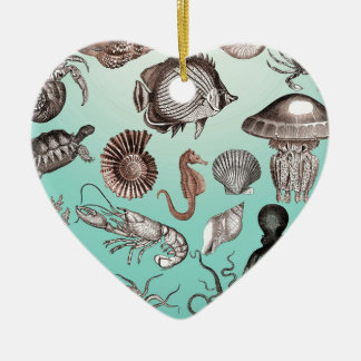 Marine Life Ceramic Heart Ornament