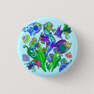 Marine Life Exotic Fishes & SeaHorses 1 Inch Round Button