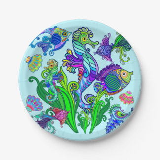 Marine Life Exotic Fishes & SeaHorses 7 Inch Paper Plate