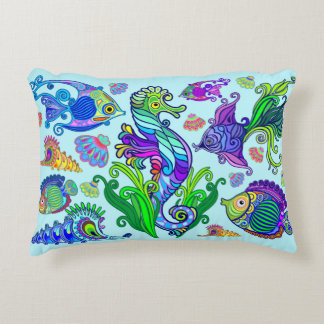 Marine Life Exotic Fishes & SeaHorses Accent Pillow