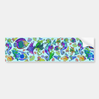 Marine Life Exotic Fishes & SeaHorses Bumper Sticker