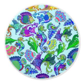 Marine Life Exotic Fishes & SeaHorses Ceramic Knob