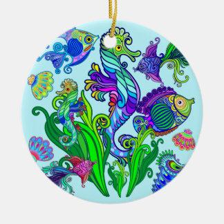 Marine Life Exotic Fishes & SeaHorses Ceramic Ornament