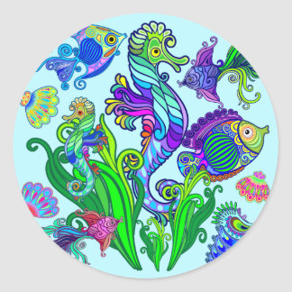 Marine Life Exotic Fishes & SeaHorses Classic Round Sticker