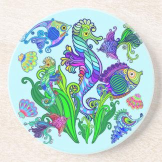 Marine Life Exotic Fishes & SeaHorses Coaster