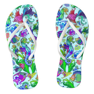 Marine Life Exotic Fishes & SeaHorses Flip Flops